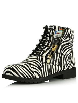 DailyShoes Women's Military Lace Up Boots Ankle High Exclusive Credit Card Pocket