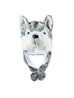 Husky Timber Wolf Cute Plush Animal Winter Hat Warm Winter Fashion (Short)