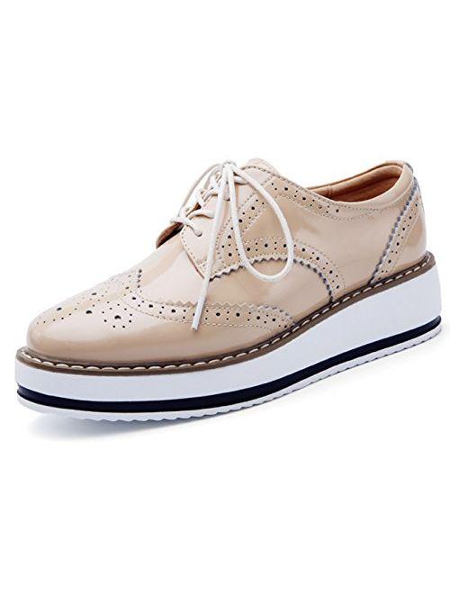 DADAWEN Women's Platform Lace-Up Wingtips Square Toe Oxfords Shoe