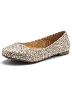 Women's Vicky Round Toe Jeweled Embellishments Rhinestone Ballet Flats Shoes