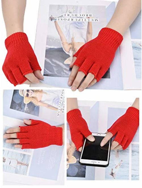 Bememo 4 Pairs Fingerless Gloves Half Finger Mittens Winter Solid Color Knitted Typing Gloves for Boys and Girls