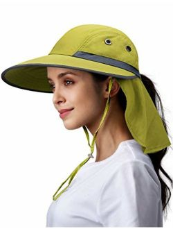 Camptrace Safari Sun Hats for Women Wide Brim Fishing Sun Hat with Neck Flap Ponytail Packable Summer Cooling Sun UPF Protection for Hiking Hunting Camping Outdoor Cap