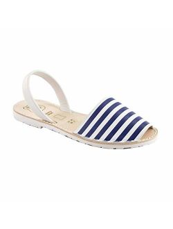 AVARCAS 101 Sandals for Women - Comfy Flats Made by artisans in Spain with Premium Leather (US 8.5-9 (EU 39), Sea Stripes)