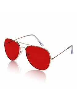 Sunny Pro Aviator Sunglasses Colored Tinted Lens Glasses Metal UV400 Protection
