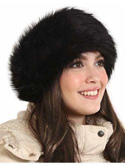 Womens Faux Fur Headband - Winter Furry Earwarmer Earmuffs - Fluffy Cold Weather Ear Covering Russian Headbands