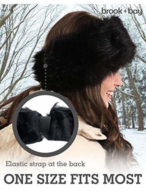 Brooks Womens Faux Fur Headband - Winter Furry Earwarmer Earmuffs - Fluffy Cold Weather Ear Covering Russian Headbands