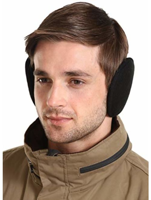Ear Muffs for Men & Women - Winter Ear Warmers/Covers - Behind The Head Style Fleece Earmuffs Black