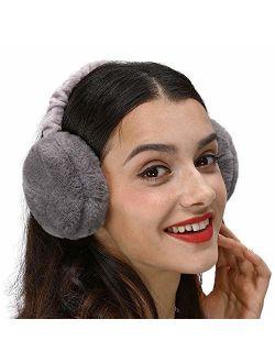 LETHMIK Faux Fur Ear Warmers,Outdoor Foldable Winter Earmuffs Womens&Mens Earlap Warm Ear Protection