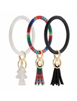 Key Ring Bangle Bracelet,Leather Keychain Bracelet Key Chains with Tassel Wristlet Bangles for Women Girls