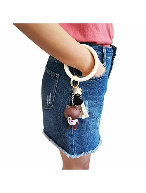 AnnabelZ Keychain Bracelet Wristlet Bangle Key Holder Round Keyring Leather Tassel Key Ring Chain for Women Girls