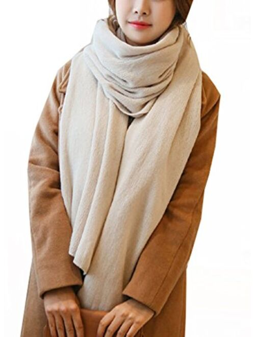 Wander Agio Womens Warm Winter Infinity Scarves Set Blanket Scarf Pure Color