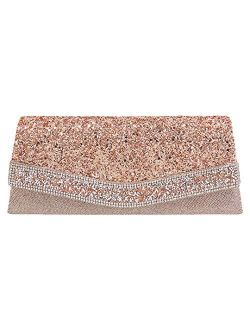 Naimo Flap Dazzling Clutch Bag Evening Bag With Detachable Chain