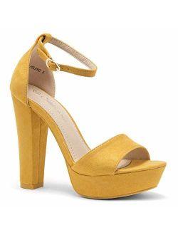 Island Women's Open Toe Ankle Strap Chunky Platform Dress Heel Sandal