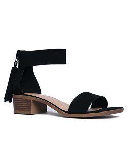 J. Adams Ankle Strap Kitten Heel Strappy Block Heel - Cute Low Sandal - Faux Leather Vegan - Midori