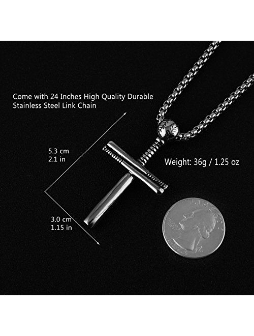 HZMAN Athletes Cross Necklace by Sports Pendant Stainless Steel Baseball and Baseball Bat Cross Necklace, Large and Small