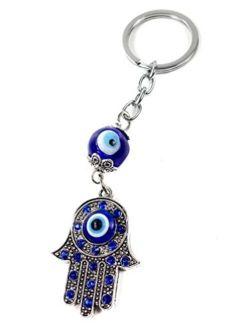 Evil Eye Silver Hamsa Keychain Hand Fatima Protection Charm Key holder Good Luck Keychain - Amulet