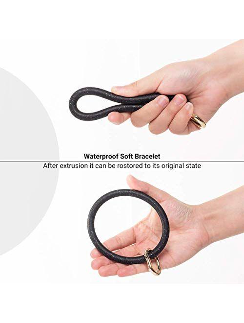AnnabelZ Keychain Bracelet Wristlet Bangle Silicone Key Holder Round Keyring Tassel Key Ring Chain for Women Girls