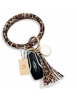 Key Ring Bracelet keychain for women Leather wristlet keychains Circle Keyring with tassel for girl