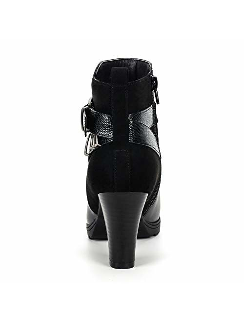 mysoft Women's Zipper Bootie Chunky Stacked Heel Ankle Boots Buckle Strap Ankle