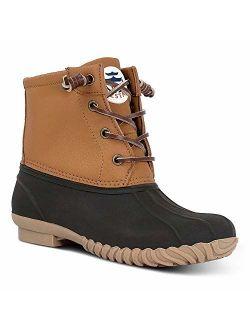 HZSTAY Women's Duck Boots Lace Up Waterproof Ankle Rain Boots Flat Winter