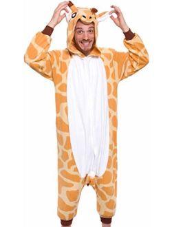 Giraffe One Piece Animal Costume - Unisex Adult Plush Cosplay Pajamas by Silver Lilly