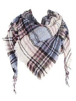 Agio Womens Warm Scarf Triangle Shawls Scarves Stripe Plaid Fichu Rough Surface