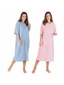CATALOG CLASSICS Women's 2-Pack Long Henley Nightshirts - Pajama Sleep Shirt Set, Missy