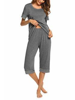 Women's Pajama Set Stylish Print O-neck Short Sleeves Top With Capri Pants Sleepwear Pjs Sets