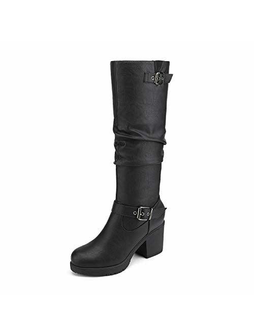 DREAM PAIRS Women's Chunky Heel Knee High Boots