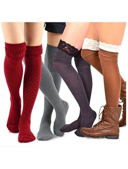 Teehee Women's Fashion Over The Knee Socks - 4 Pairs Pack