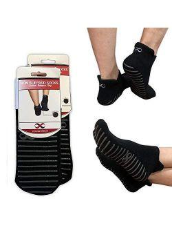 YogaAddict Non Slip Skid Socks with Grips, for Hospital Rehab, Traveling, Yoga, Pilates, Barre, Martial Arts, Trampoline, Fitness, Home Use, 1 & 2 Pairs Set, Women, Men,