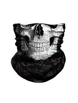 JOEYOUNG Skull Face Mask - UV Sun Mask Dust Wind Neck Gaiter, Half Face Mask for Motorcycle Riding Skeleton Bandana, Seamless Headwear Tube Mask for Fishing Hunting Cycli