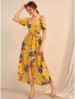 Floral Print Cold Shoulder Tulip Hem Belted Dress