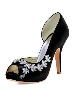 ElegantPark Wedding Shoes for Bride High Heel Platform Bridal Shoes Rhinestones Wedding Heels for Women Pumps Satin Evening Party Prom Dress Shoes