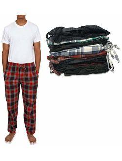 Men's 4 Pack 100% Cotton Flannel Pajama Sleep Pant - Lounge Pants