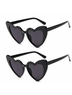 JUSLINK Heart Shaped Sunglasses for Women, Cat Eye Mod Style Retro Kurt Cobain Glasses