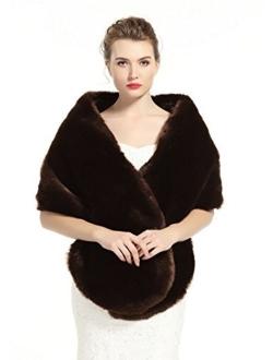 BEAUTELICATE Women's Faux Fur Shawl Stoles Wrap for Bridal/Wedding/Party-S62(12 Colors)