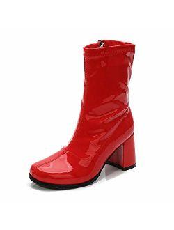 LIURUIJIA Women's Go Go Boots Mid Calf Block Heel Zipper Boot XZ-DX-1027