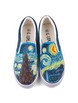 ElovForU White Black Slip On Low Top Canvas Shoes Loafers Hand Painted Women Sneakers