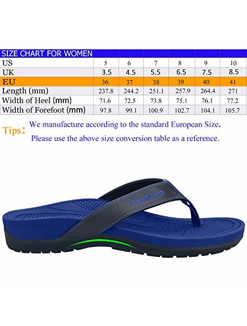 EVERHEALTH Orthotic Sandals Women's Flip Flops Thongs with Arch Support for Plantar Fasciitis, Flat Feet & Heel Spur, Orthopedic Toe Post Sandals Comfort Slippers