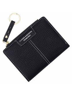 Small Compact Bifold Keychain Wallets for Women Girls Credit Card Holder Zipper Coin Purse