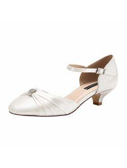 ERIJUNOR Women Comfort Low Kitten Heel Buckle Ankle Strap Dyeable Satin Bridal Wedding Shoes