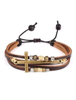 Feraco Religious Cross Wrap Bracelets Women Leather Christian Jewelry for Confirmation Gifts, Adjustable