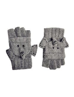YAN & LEI Elephant Knitted Gloves for Women, One Size, Gray