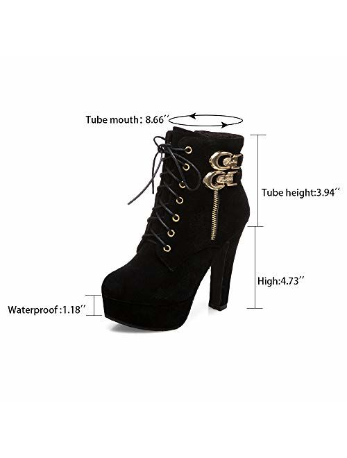 Susanny Womens Sexy Martin Boots Platform Chunky High Heels Ankle Booties Lace Up Zipper Autumn Winter Shoes