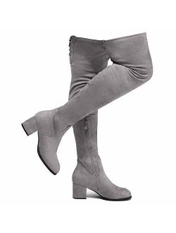 Shoe Land CARAA Womens Suede Thigh High Stretchy Boots- Block Heel Side Zipper Back Lace Over The Knee Casual Boots