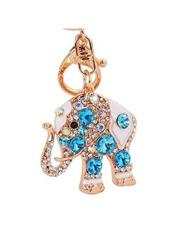 Reizteko Lucky Elephant Colorful Opal Rhinestone Plating Women Car/Bag Elephant Keychain Purse Charm