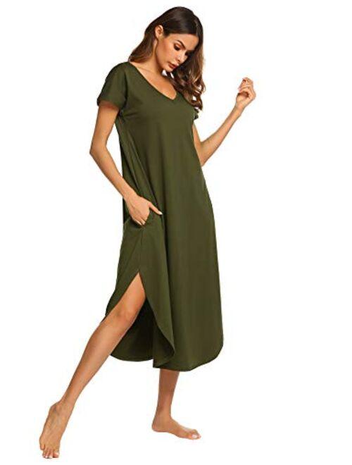 Ekouaer Sleepwear Women's Casual V Neck Nightshirt Short Sleeve Long Nightgown S-XXL