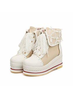 HILIB Women's Cute Lolita Boots Cosplay Brogue Wedge Boots