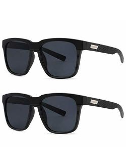 MAXJULI Polarized Sunglasses for Men Larger Sized Square Frame for Big Heads,FDA Approved 8023